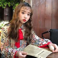 春装新款韩版复古甜美系带蝴蝶结翻领长袖显瘦花色衬衫女休闲衬衣