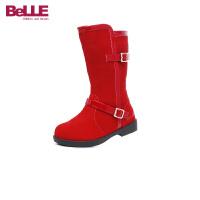 百丽Belle童鞋17绒面牛皮儿童皮靴女童高筒靴天鹅绒保暖休闲靴 (9-13岁可选) DE0496