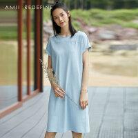 [AMII东方极简] JII[东方极简]2018夏季新款女装简洁宽松圆领翻折短袖T恤连衣裙