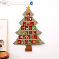 圣诞节装饰品圣诞树麻布日历挂历商场家庭挂饰 麻布圣诞树挂历