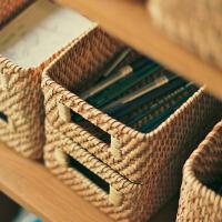 藤编收纳筐 杂物储物箱 文具整理篮 中号置物盒抽屉手工越南