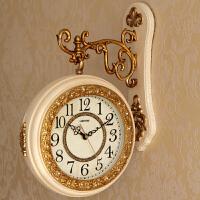 新款欧式双面挂钟创意客厅静音现代简约石英钟表大气潮流时钟两面 AB8318FS 16英寸