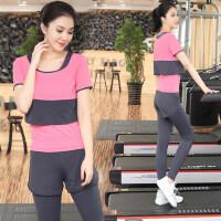 女士健身房运动服速干衣套装 瑜珈服跑步服显瘦三件套女 新款休闲瑜伽服套装女