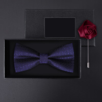 正装婚礼礼服英伦韩版蝴蝶结胸针礼盒装男士紫色大格纹领结套装