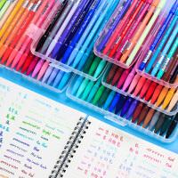慕娜美3000纤维笔彩色中性笔套装做笔记专用慕那美水性笔勾线软头手帐笔手绘色彩一套七色学生荧光色36色勾线