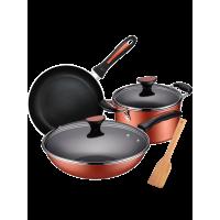 厨房用品锅具套装不粘锅少油烟三件套炒锅汤锅煎套装锅具组合三件锅io1