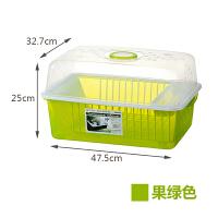 20180512051232518塑料碗柜特大号厨房沥水碗架带盖装碗筷盘餐具收纳盒 透明果绿(进口PP材质)