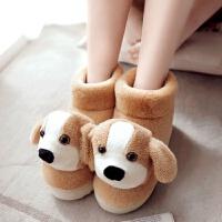 冬季保暖棉拖鞋包跟卡通居家鞋情侣可爱室内女毛毛鞋厚底月子棉鞋