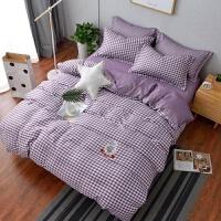 大红大紫针织棉四件套 日式简约条纹格子被套床上用品 1.5-1.8m床四件套