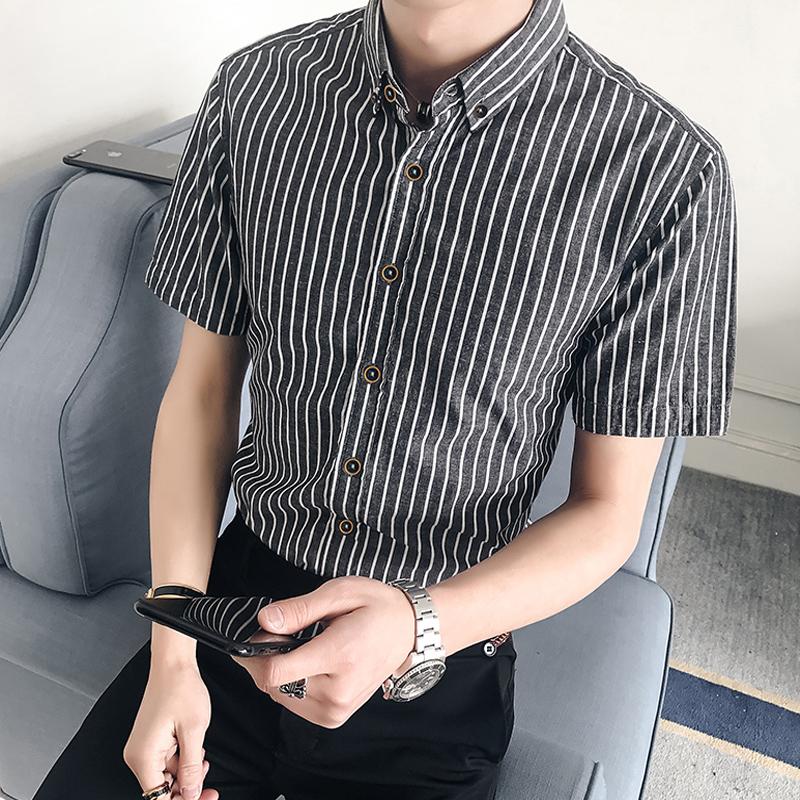 夏季新款韩版男装半袖衬衫条纹修身潮流短袖休闲衬衣46