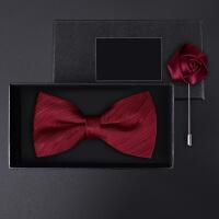 正装结婚婚礼英伦韩版蝴蝶结胸针礼盒装男士酒红暗纹领结套装