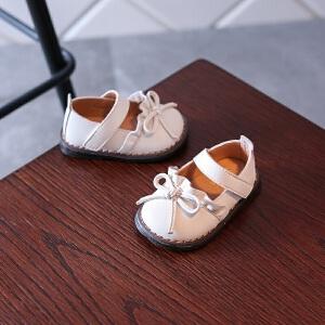 女童婴儿皮鞋蝴蝶结软底防滑公主鞋 宝宝学步鞋防水单鞋0-1-3周岁