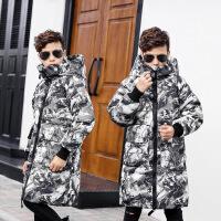 男童羽绒服中长款加厚过膝2018新款冬季儿童中大童迷彩