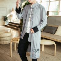 中国风男装佛系古装道袍复古风汉服居士禅服冬季长衫外套青年唐装