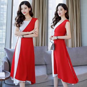 连衣裙2018夏装新款女装时尚两件套夏天气质名媛雪纺长裙套装裙潮