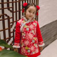 女童旗袍冬女孩汉服儿童唐装宝宝喜庆新年装拜年服中国风童装