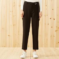 【1件3折到手价:70.8】美特斯邦威长裤女秋季新款时尚简约中腰绑带梭织长裤