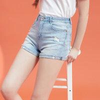 【全场2件2.5折,到手价:21.3】美特斯邦威牛仔短裤女夏装新款翻边复古裤子破洞潮流裤子