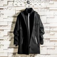 气质型中长款连帽风衣男秋冬季青年潮修身纯色大衣外套