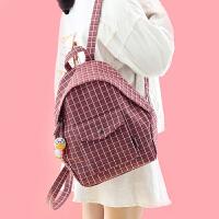 森系格子背包书包女韩版学院风高中大学生帆布包双肩包 #0219 黑色格子小房子送挂件