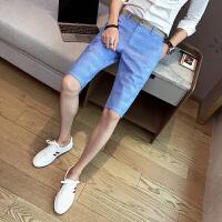 夏天中裤5分裤男夏季棉麻裤五分裤格子修身亚麻休闲短裤