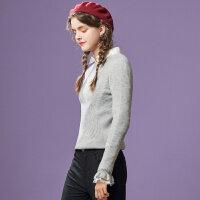 【满1000减750】美特斯邦威修身毛衣女喇叭袖冬装新款韩版套头毛衫潮商场款