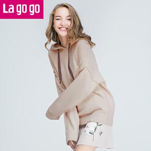 Lagogo2017秋季新款连帽长袖针织衫女米白色宽松女士大码秋装上衣