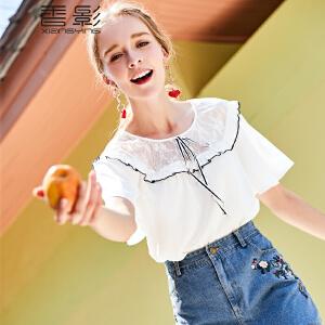 蕾丝拼接上衣香影2018夏装新款显瘦短袖韩版荷叶边小衫白色学生