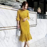 春夏韩版新款气质百搭圆领五分袖蕾丝连衣裙女修身显瘦鱼尾裙