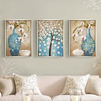 印花十字绣新款客厅大幅画欧式简约现代卧室三联画平安富贵发财树