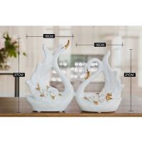 陶瓷描金天鹅摆件家居客厅电视柜新房装饰品摆设结婚礼物 白色两件套