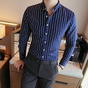 主推秋季男士条纹长袖衬衫时尚青年衬衣备货足2022CS60