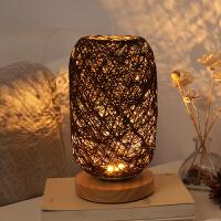卧室床头个性装饰创意可调光LED夜灯实木麻线藤球台灯麻球小台灯