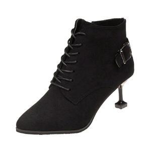 WARORWAR新品YM45-5151冬季韩版磨砂反绒细跟高跟女士靴子切尔西靴短靴