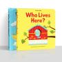 【盖世童书】Who lives Here英文原版绘本幼儿童宝宝早教启蒙翻翻洞洞玩具书2本装