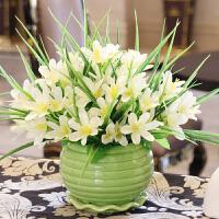 仿真花束客厅卧室餐桌茶几摆件假花艺装饰绢花陶瓷塑料假花装饰 白色 绿荷花瓶小百合