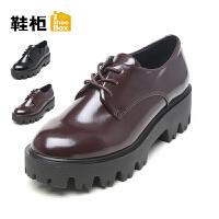 Daphne/达芙妮旗下鞋柜 女鞋秋学院风深口系带低跟纯色女单鞋