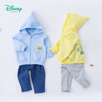 迪士尼Disney童装 潮酷连帽套装春季新款男童前开外套哈伦长裤两件套百搭191T854