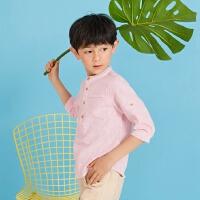 【1件2.5折到手价:49.8】moomoo童装男童衬衫中大童立领中袖亚麻面料夏衬衫