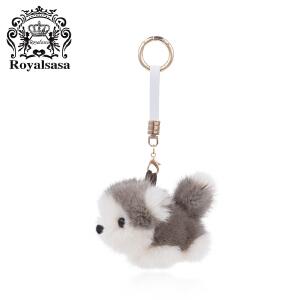 皇家莎莎毛球钥匙扣送女友车用水貂毛挂饰女士手工钥匙链时尚包挂件