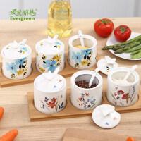 爱屋格林美式陶瓷调味罐调料盒调味瓶三件套装创意家居厨房用品升级款