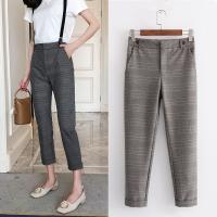 女装年春新韩版修身格纹减龄可卸背带裤休闲西装裤小脚九分裤