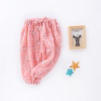 儿童棉麻男女童1-3岁夏户外宝宝韩版沙滩九分灯笼裤子2-4岁