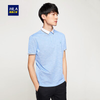 HLA/海澜之家丝光棉短袖T恤2018夏季新品舒适短袖polo衫男