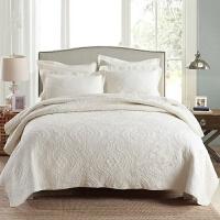 欧式 绗缝被床盖三件套水洗夏凉被空调被子纯棉绣花床单垫