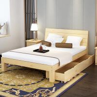 原木实木床 1.5双人床1.8单人床架现代简约儿童床1.2米松木床5vh