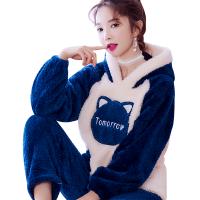 家居服珊瑚绒睡衣女秋冬长袖新款韩版甜美可爱套装加厚保暖法兰绒