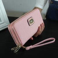 2018春新款荔枝纹女士钱包韩版长款双拉链包男式手拿包手机包皮夹