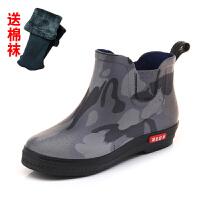 韩国时尚秋冬新款雨鞋女百搭雨鞋女短筒水靴雨丁靴套防滑水鞋 +棉袜