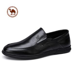 骆驼牌男鞋 春季新品英伦复古套脚轻盈皮鞋牛皮商务皮鞋